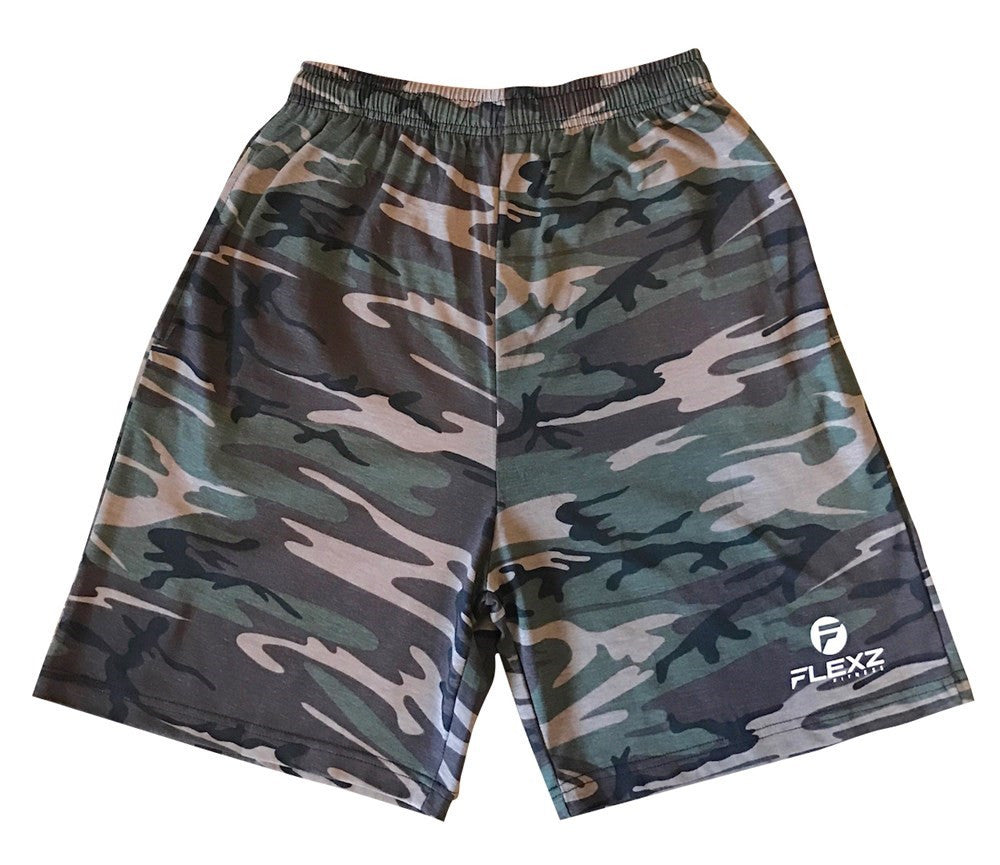 Men's Camo Cotton Shorts For Basketball Sports Gym Workout Running