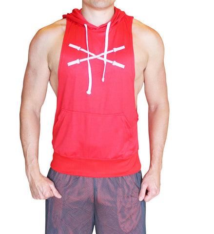 Sleeveless Muscle Hoodie - Red - Flexz Fitness - 2