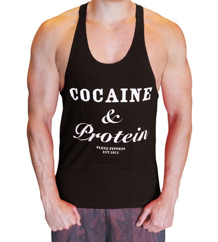 Cocaine & Protein Singlet Racerback - Black/White - Flexz Fitness - 2