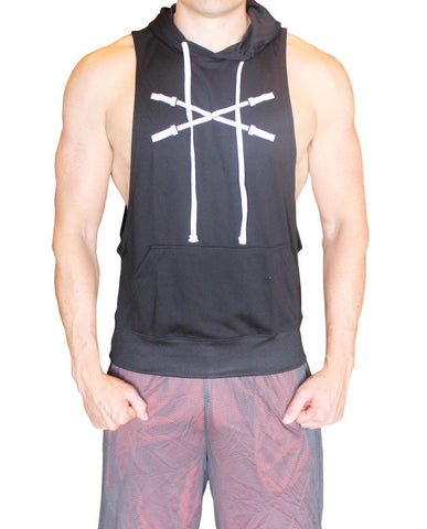 Sleeveless Muscle Hoodie - Black - Flexz Fitness - 2