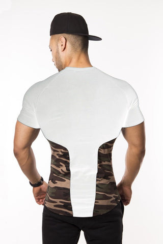Camo Muscle T-Shirt Fitted Lightweight Snug Slim Fit Gym Workout Soft Stretch Moisture Dri-Fit - Flexz Fitness - 5