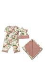 Baby's Ruffle Take-Me-Home 4 Piece  - Beige Floral