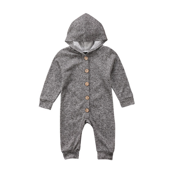 Grey Ash Long Sleeve Hooded Jumpsuit