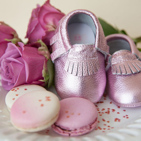 Moc Happens Leather Baby Moccasins- Pink Champagne
