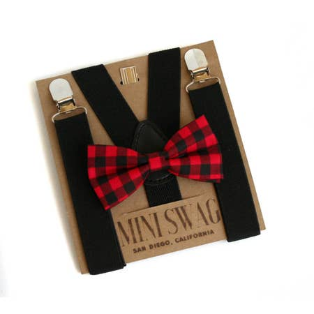 Black Suspenders & Red/Black Buffalo Plaid Bow Tie Set: Toddler 1-5 Years