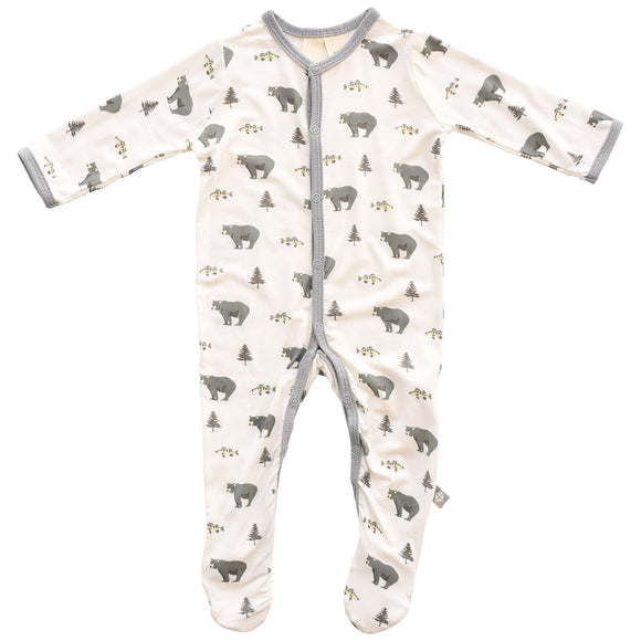 Kyte BABY - Printed Footie - Creek (Bear, Tree, & Fish)