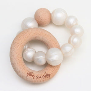 Teether - Silicone + Wood |Pearl|