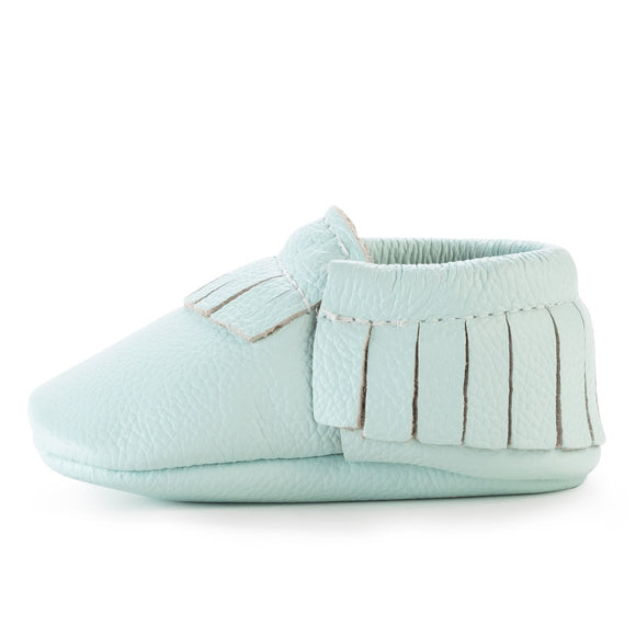 BirdRock Baby - Seafoam Green Genuine Leather Baby Moccasins
