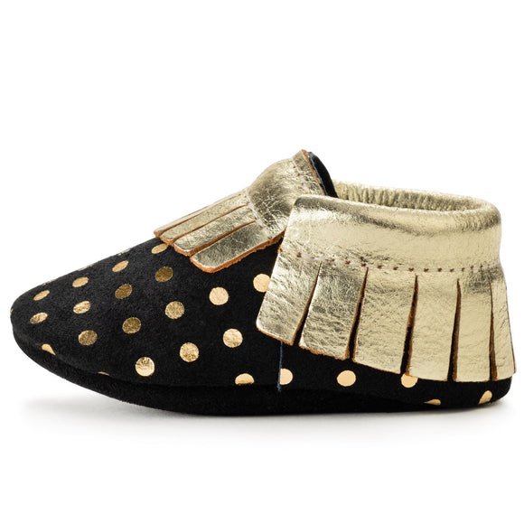 BirdRock Baby - Black and Gold Genuine Leather Baby Moccasins