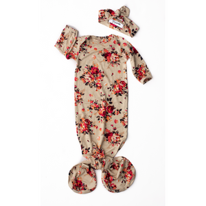 Gigi and Max - Ava Floral Handmade Knotted Newborn Gown w/ Headband
