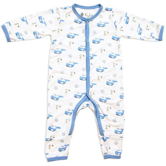 Kyte BABY - Printed Romper - Ocean (Whale, Seahorse, & Shell)