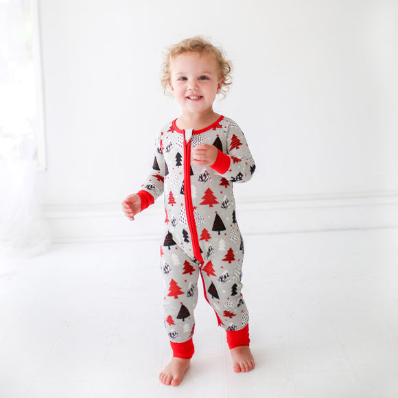 Little Sleepies - Christmas Trees convertible romper/sleeper