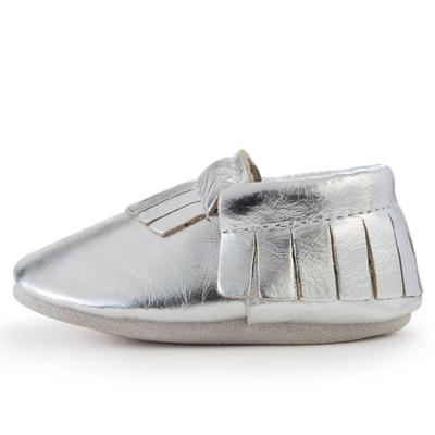 BirdRock Baby - Silver Genuine Leather Baby Moccasins