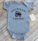Paper Cow LLC - Future Farmer Tractor Grey Bodysuit