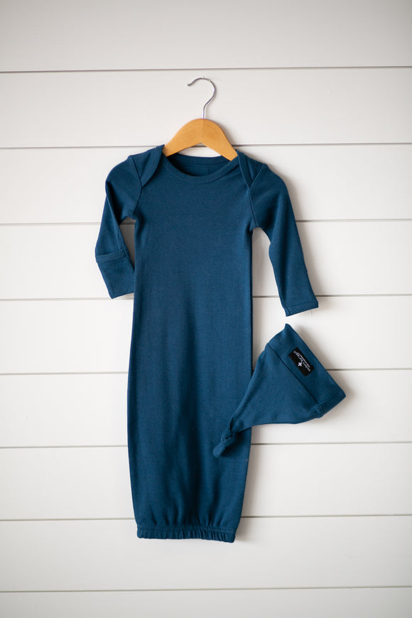 Solid Color Organic Gown Set + Knot Hat | Sailor Blue
