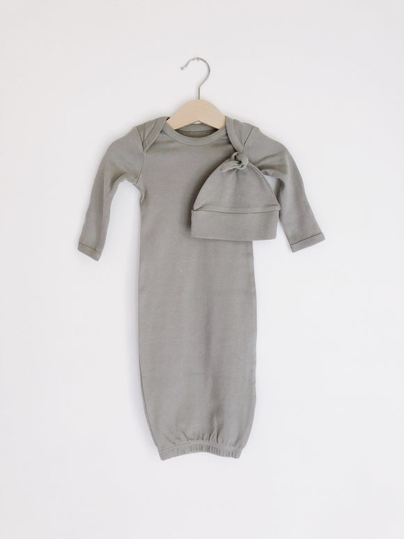 Solid Color Organic Gown Set + Knot Hat | Neutral Gray