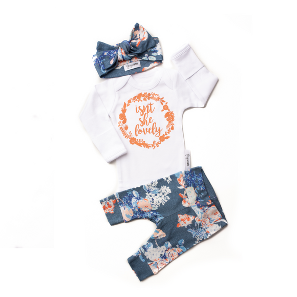 Gigi and Max - Isn't She Lovely Slate Floral Newborn Set