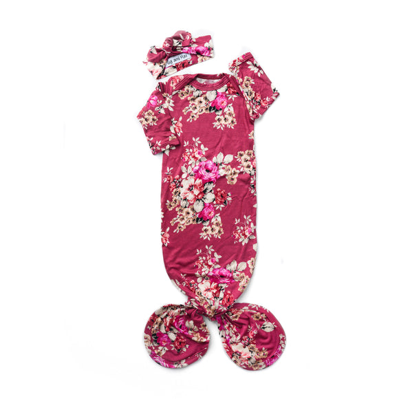 Gigi and Max - Stella Floral Handmade Knotted Newborn Gown w/ Headband