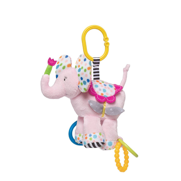 Elephant Activity Soft Toy With Teethers, Attaches To Carriers
