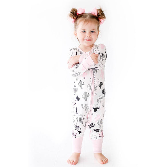 Little Sleepies - Pink Cactus convertible romper/sleeper