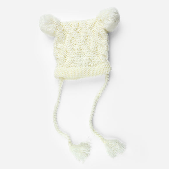 Cream Quinn Cable Pom Pom Knit Hat