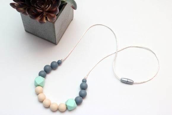 Silicone Necklace Mint Geometric Navajo White and Gray
