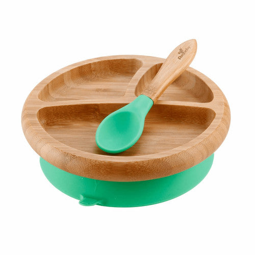 Bamboo Suction Baby Plate + Spoon- Green