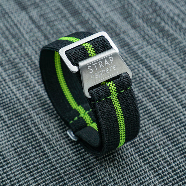 STRAPOMARINE BLACK WITH NEON LIME PIN STRIPE by straposphere.com