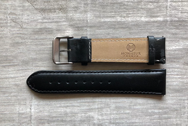 Silver - 22mm Italian Leather Strap