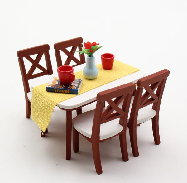 1 18 Miniature Dollhouse Furniture DIY Kit Dining Table Chairs Set Do It Yourself Kit