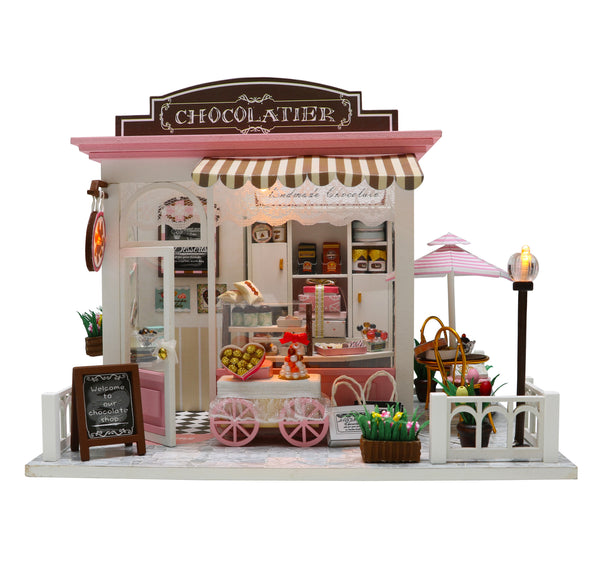 English Manual Cool Beans Boutique Miniature DIY Dollhouse Kit Wooden European Chocolatier and Confectionery Shop with Musical Mechanism and Dust Cover Architecture Model kit