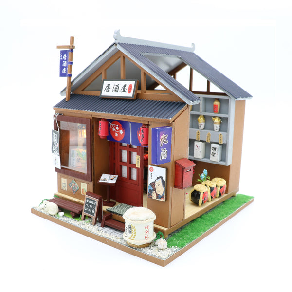 124 Miniature Diy Dollhouse Kit Wooden Japanese Izakaya Bar Grill Bistro With Dust Cover Architecture Model Kit English Manual