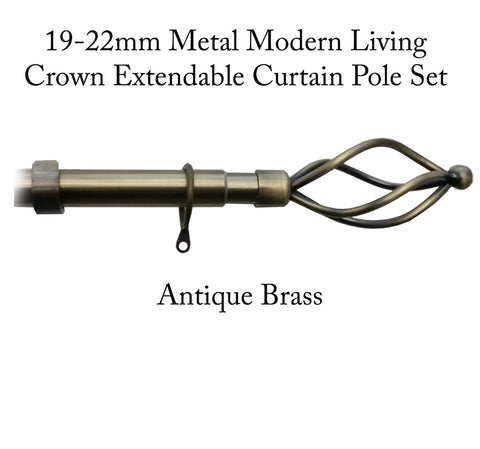 19-22mm Metal Modern Living Crown Extendable Curtain Pole Set