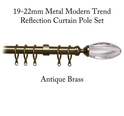 19-22mm Metal Modern Trend Reflection Curtain Pole Set