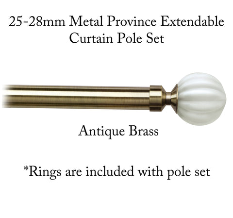 25-28mm Metal Province Extendable Curtain Pole Sets