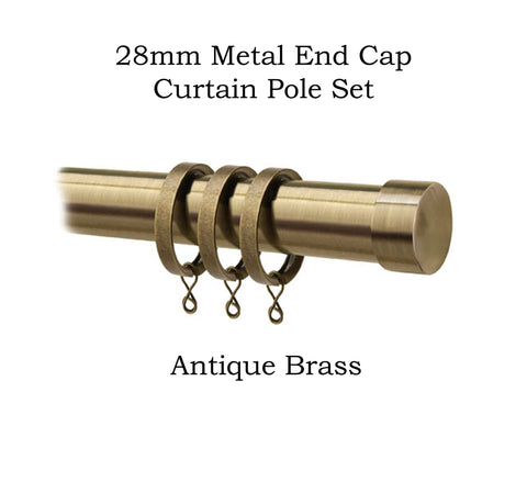 28mm Metal Complete End Cap Pole Sets