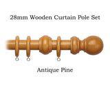 28mm Wooden Complete Curtain Pole Sets
