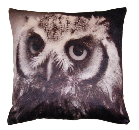 "17"" Velvet Owl Face Cushion Cover"