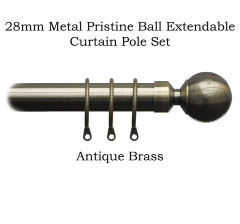 25-28mm Metal Complete Extendable Pristine Ball Curtain Pole Sets