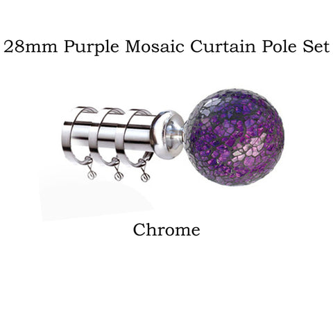 28mm Metal Complete Purple Mosaic Curtain Pole Sets