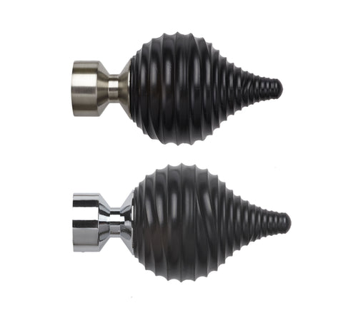 28mm Swirl Black Finial