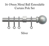 16-19mm Metal County Ball Extendable Curtain Pole Set