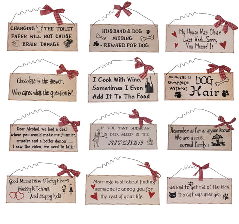 Vintage Style Humour Signs with Red Ribbon
