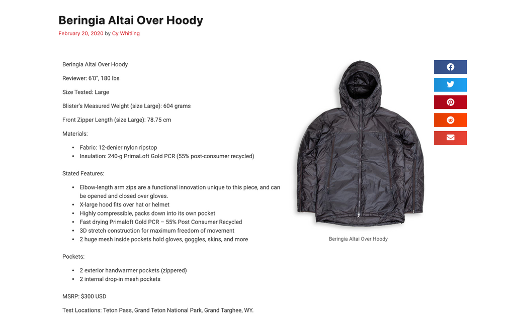 Altai Over Hoody - Blister Report