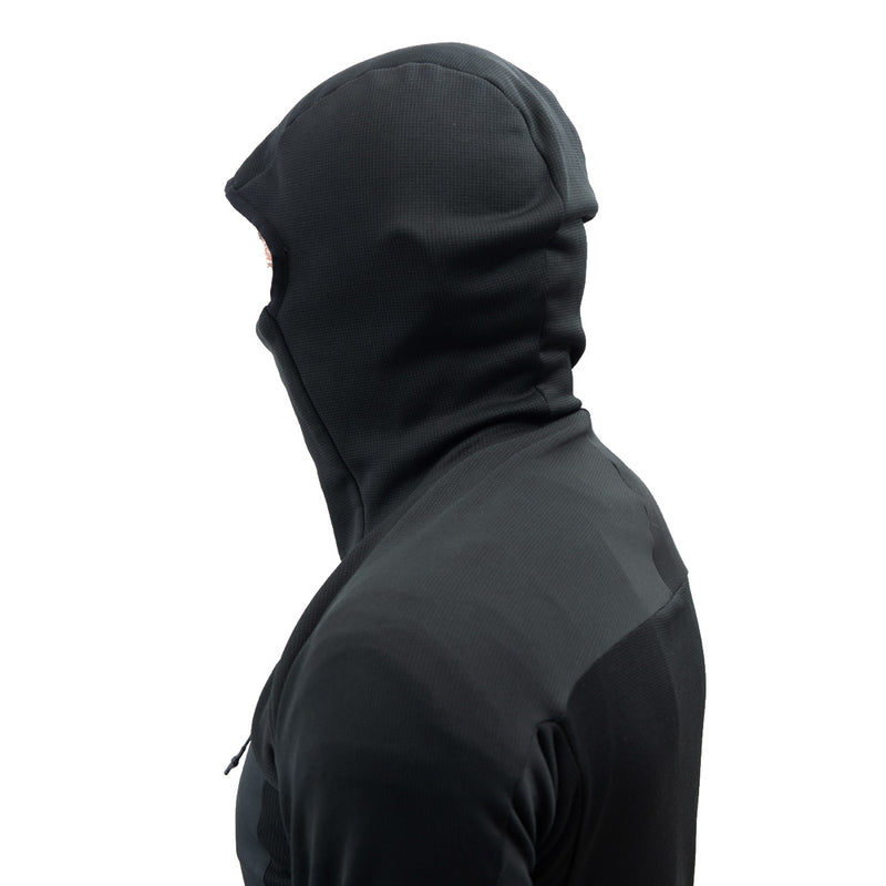 Beringia - Men's Sibir Hoody - Black Side View with Hood Up