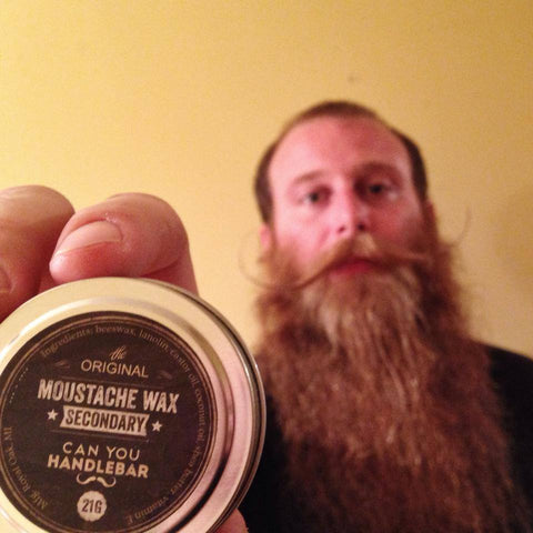 Brian Furby aka TitleBeard, with a moustache styled with CanYouHandlebar Secondary moustache wax