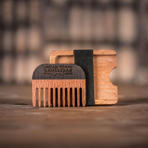 Handmade Leopard Wood Comb and Oak Wallet, Comb Outside