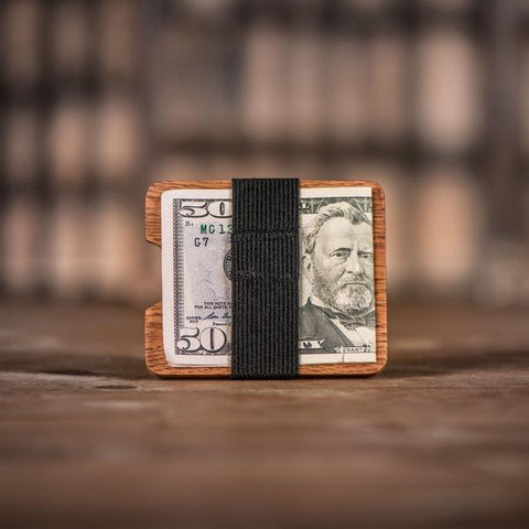 Handmade Leopard Wood Comb and Oak Wallet with money