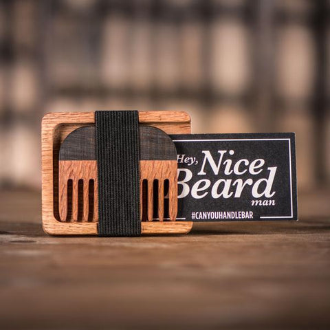 Handmade Leopard Wood Comb and Oak Wallet with Sticker