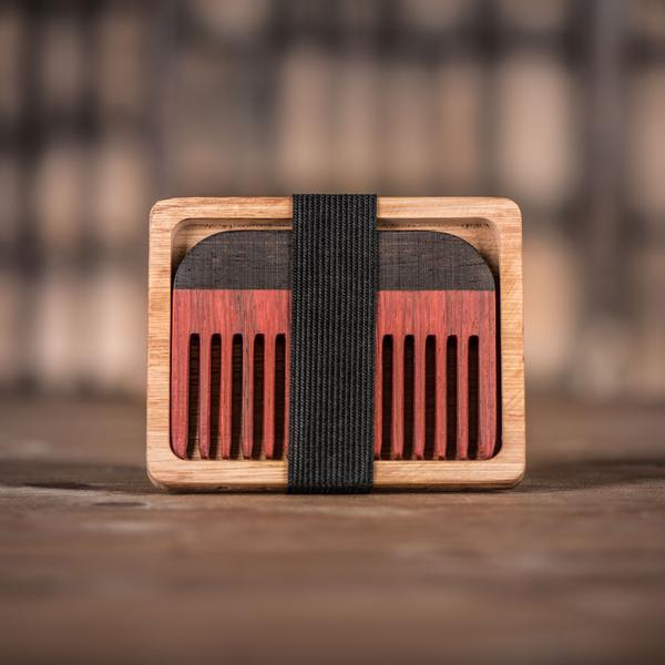 Handmade Paduak Wood Beard Comb and Oak Holder
